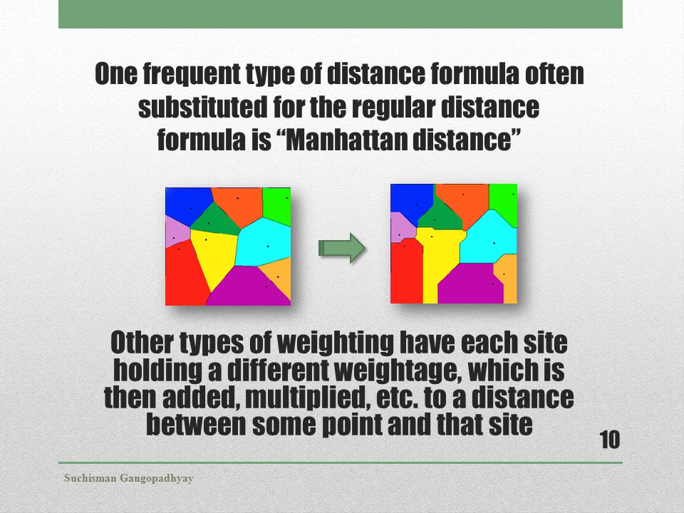 "One frequent type of distance formula often substituted for the regular distance formula is ""Manhattan distance"" Other types of weighting have each si"