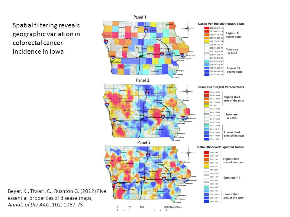 Spatial filtering reveals geographic variation in colorectal cancer incidence in Iowa Beyer, K., Tiwari, C., Rushton G.