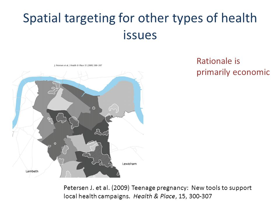 Spatial targeting for other types of health issues Petersen J.