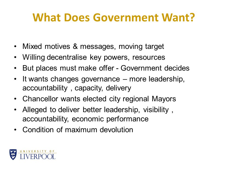What Does Government Want.