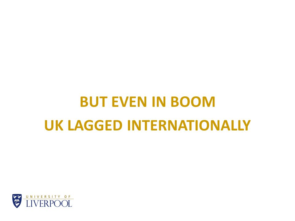 BUT EVEN IN BOOM UK LAGGED INTERNATIONALLY