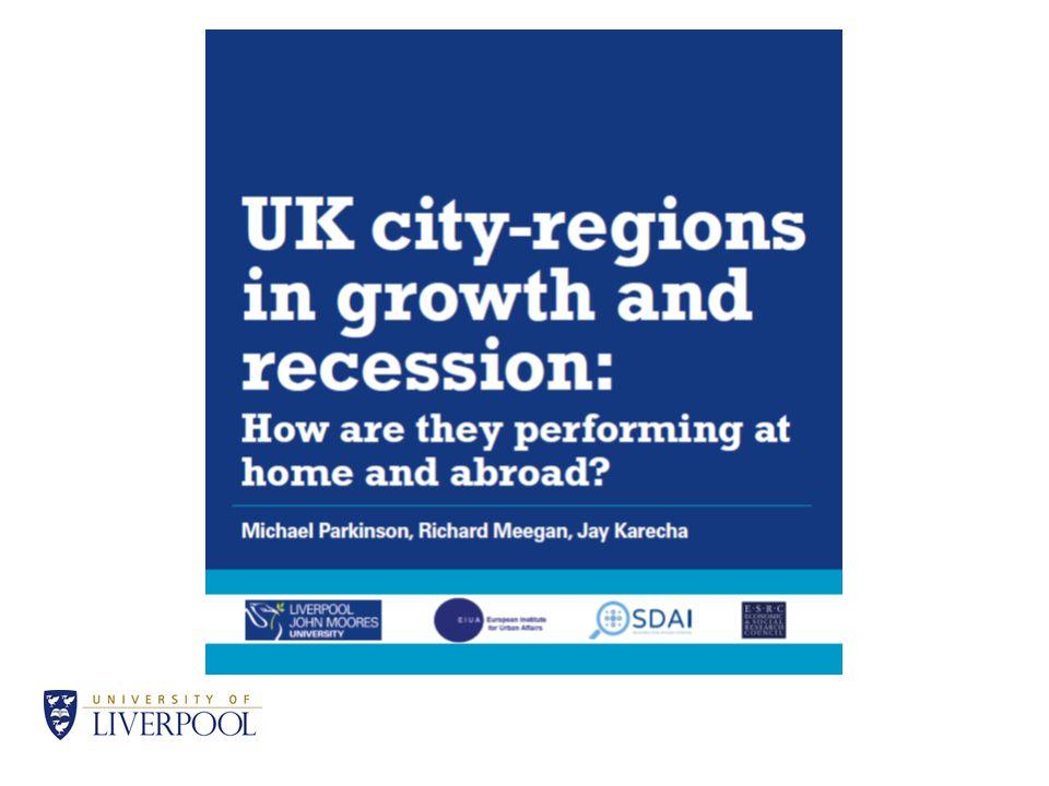 Impact boom UK city regions GVA pc % change 1997-2008 98