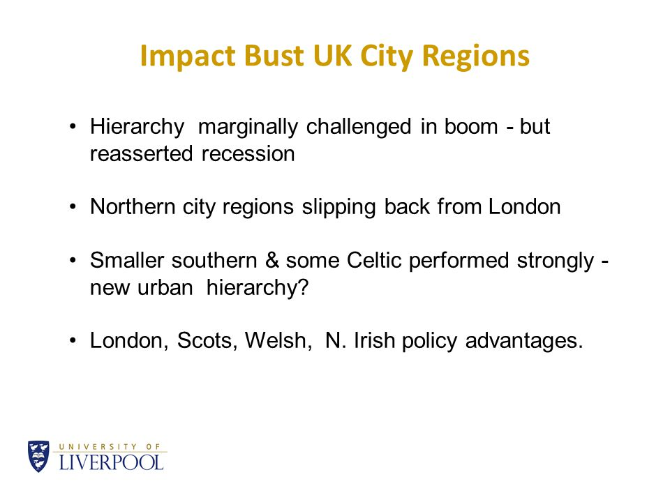 Impact Bust UK City Regions Hierarchy marginally challenged in boom - but reasserted recession Northern city regions slipping back from London Smaller southern & some Celtic performed strongly - new urban hierarchy.