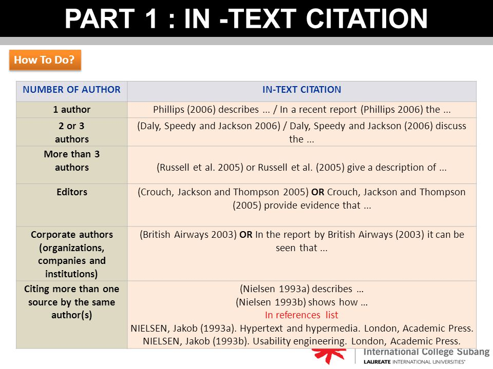 PART 1 : IN -TEXT CITATION NUMBER OF AUTHORIN-TEXT CITATION 1 authorPhillips (2006) describes... / In a recent report (Phillips 2006) the... 2 or 3 au