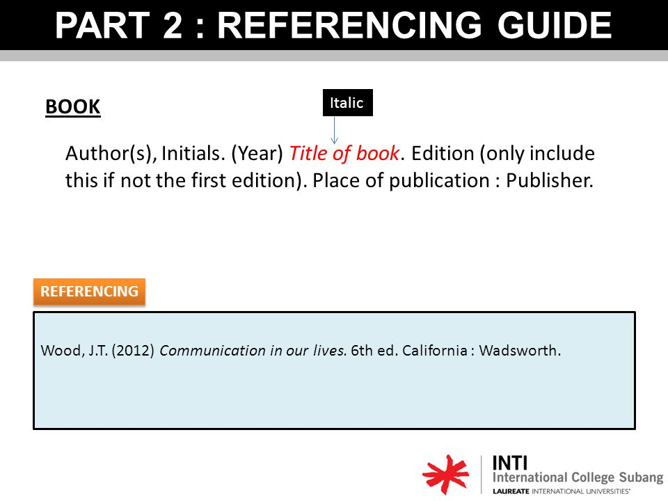 Wood, J.T. (2012) Communication in our lives. 6th ed. California : Wadsworth. PART 2 : REFERENCING GUIDE BOOK Author(s), Initials. (Year) Title of boo