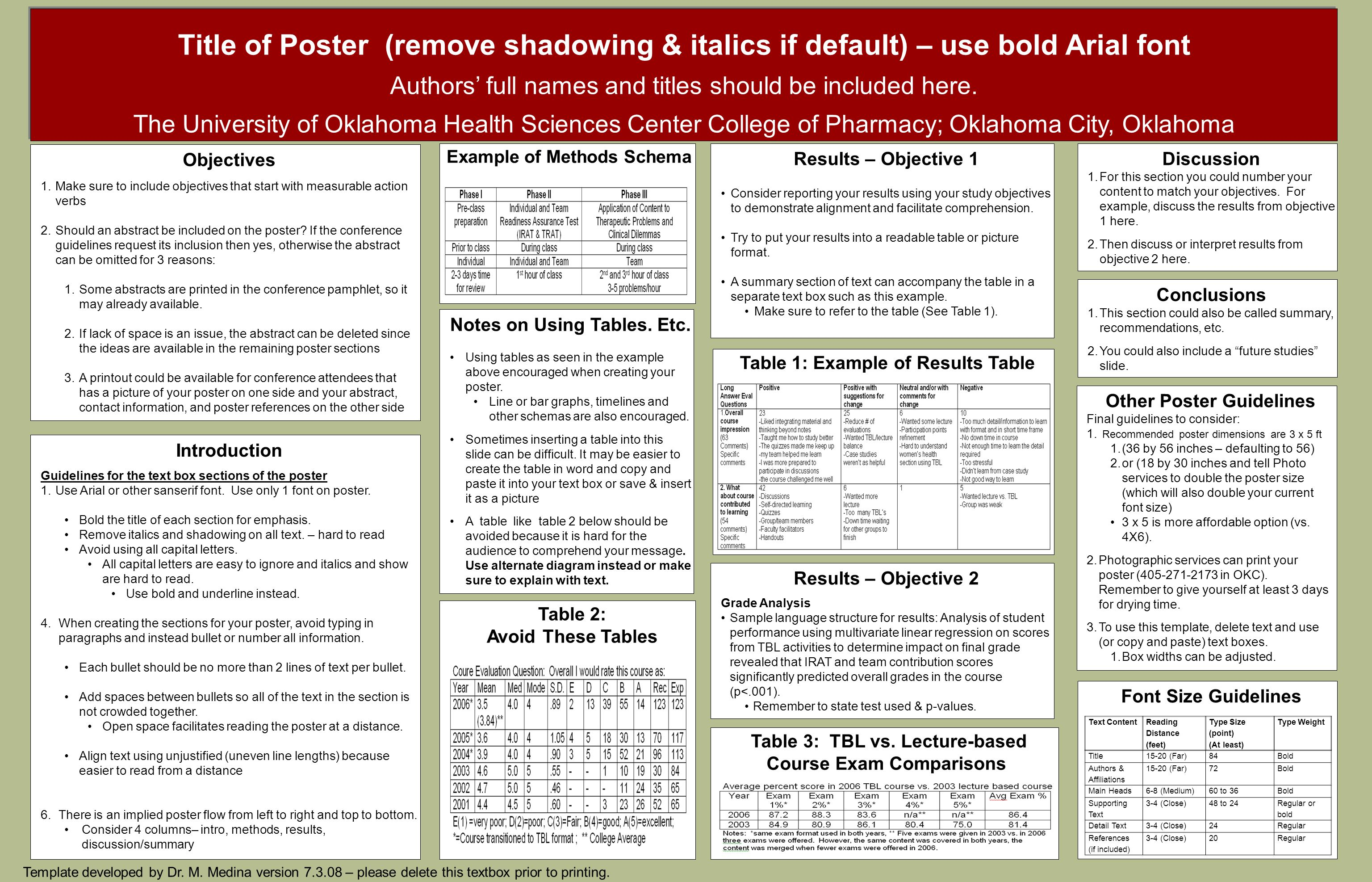 Title of Poster (remove shadowing & italics if default) – use bold Arial font Authors' full names and titles should be included here.