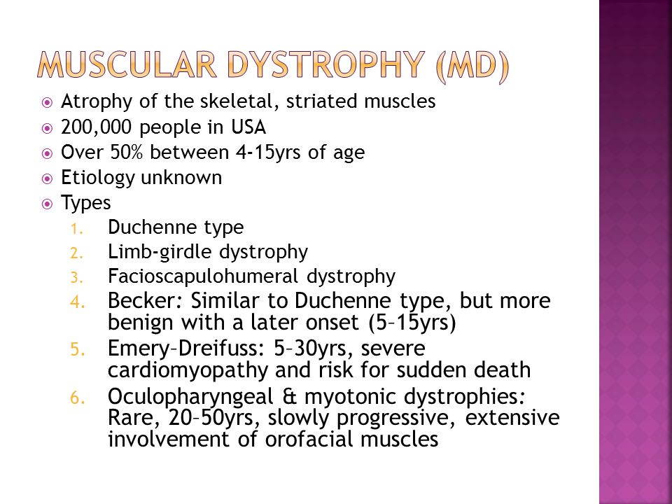  Atrophy of the skeletal, striated muscles  200,000 people in USA  Over 50% between 4-15yrs of age  Etiology unknown  Types 1.