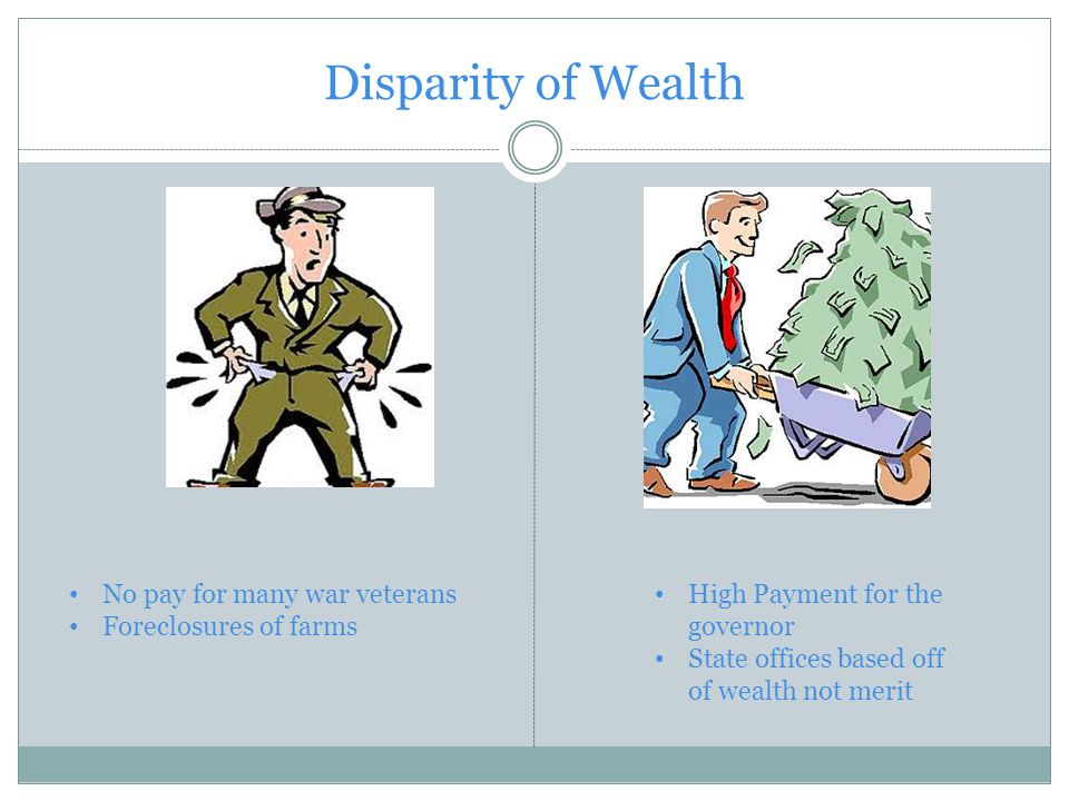 Disparity of Wealth No pay for many war veterans Foreclosures of farms High Payment for the governor State offices based off of wealth not merit