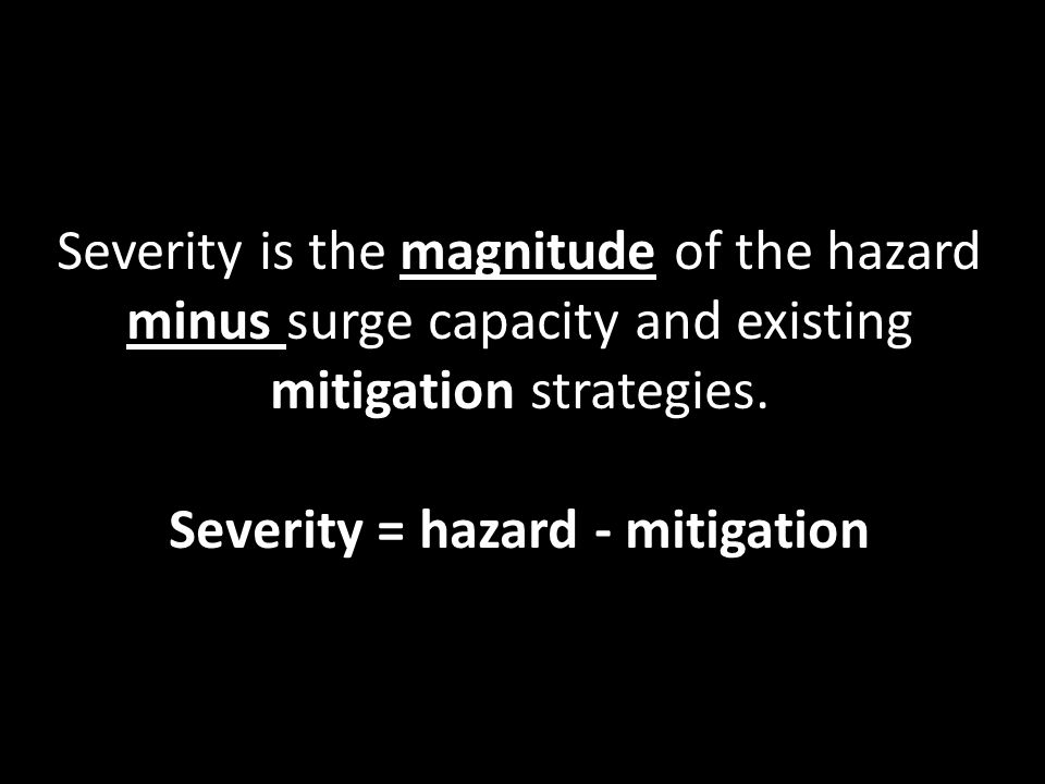 Severity is the magnitude of the hazard minus surge capacity and existing mitigation strategies. Severity = hazard - mitigation