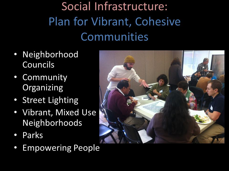 Social Infrastructure: Plan for Vibrant, Cohesive Communities Neighborhood Councils Community Organizing Street Lighting Vibrant, Mixed Use Neighborhoods Parks Empowering People