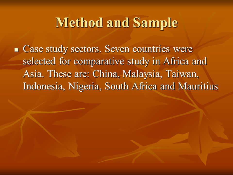 Method and Sample Case study sectors.
