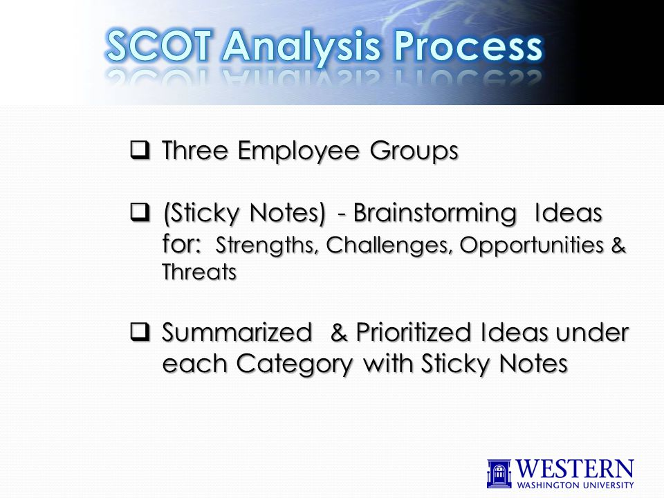  Three Employee Groups  (Sticky Notes) - Brainstorming Ideas for: Strengths, Challenges, Opportunities & Threats  Summarized & Prioritized Ideas under each Category with Sticky Notes