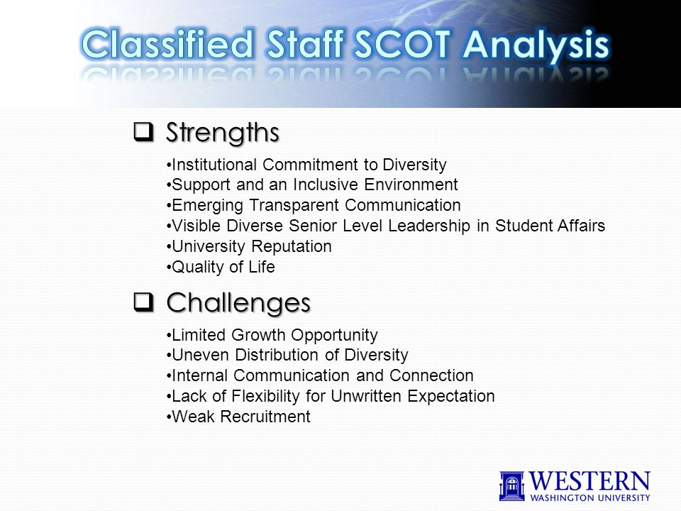  Strengths Institutional Commitment to Diversity Support and an Inclusive Environment Emerging Transparent Communication Visible Diverse Senior Level Leadership in Student Affairs University Reputation Quality of Life  Challenges Limited Growth Opportunity Uneven Distribution of Diversity Internal Communication and Connection Lack of Flexibility for Unwritten Expectation Weak Recruitment