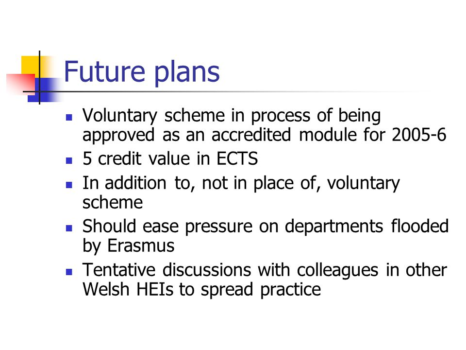 Future plans Voluntary scheme in process of being approved as an accredited module for 2005-6 5 credit value in ECTS In addition to, not in place of, voluntary scheme Should ease pressure on departments flooded by Erasmus Tentative discussions with colleagues in other Welsh HEIs to spread practice