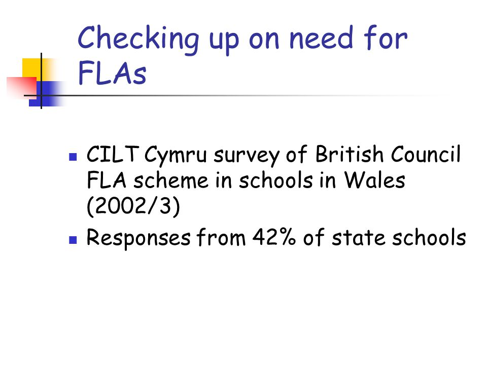 Checking up on need for FLAs CILT Cymru survey of British Council FLA scheme in schools in Wales (2002/3) Responses from 42% of state schools