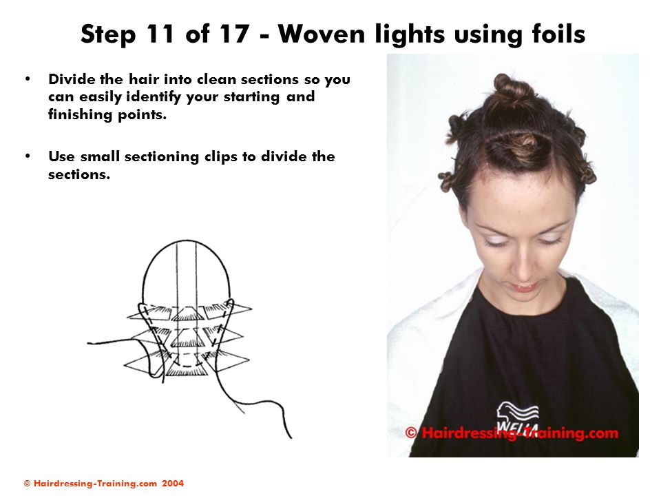 © Hairdressing-Training.com 2004 Step 11 of 17 - Woven lights using foils Divide the hair into clean sections so you can easily identify your starting and finishing points.