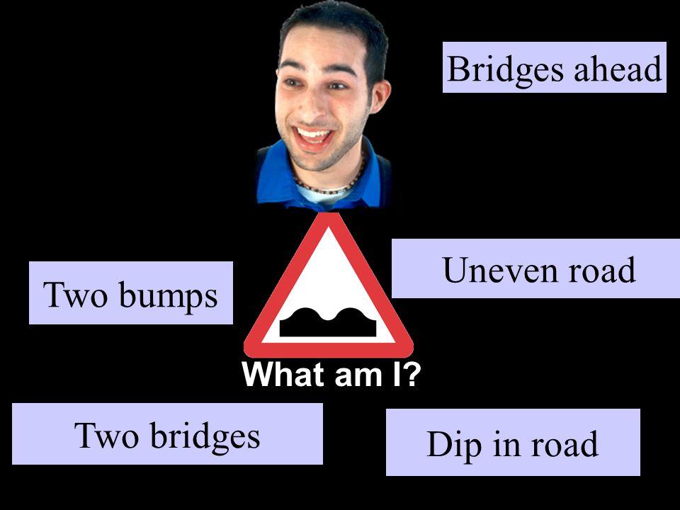 What am I Two bumps Dip in road Uneven road Two bridges Bridges ahead
