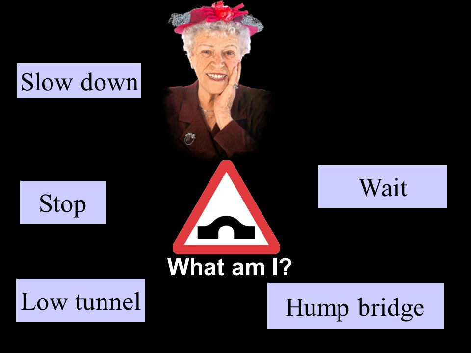What am I? Stop Hump bridge Wait Low tunnel Slow down