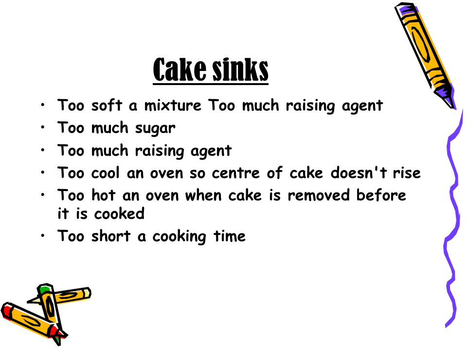 Cake sinks Too soft a mixture Too much raising agent Too much sugar Too much raising agent Too cool an oven so centre of cake doesn't rise Too hot an