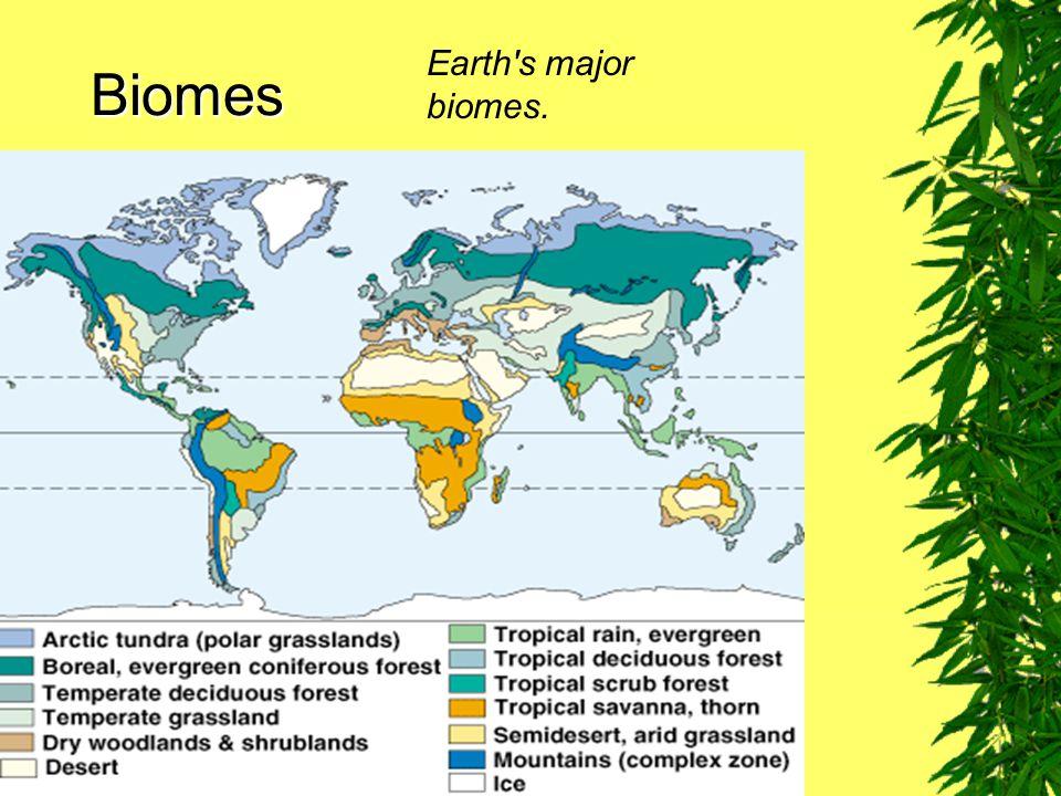 Biomes Fig. 7–11 Earth's major biomes.