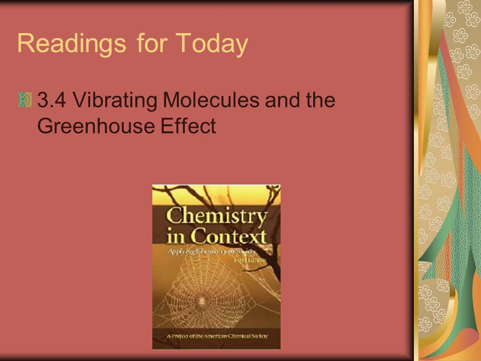 Readings for Today 3.4 Vibrating Molecules and the Greenhouse Effect