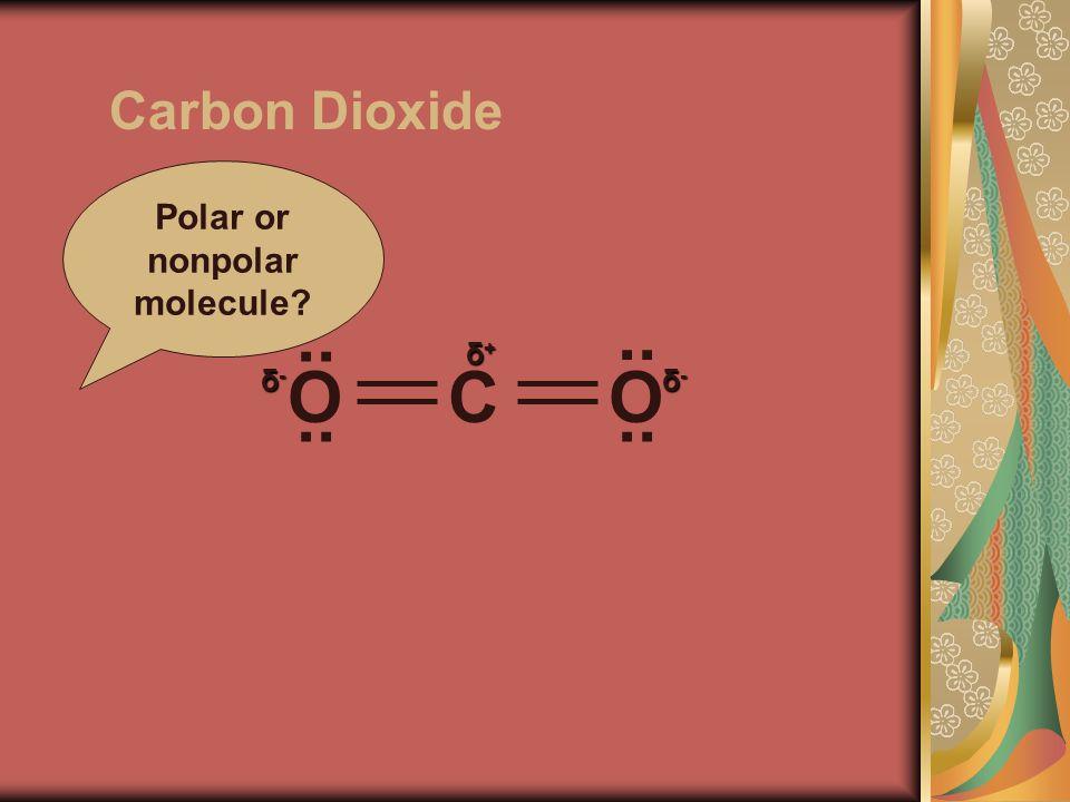 Carbon Dioxide Polar or nonpolar molecule OCO.. δ-δ-δ-δ- δ-δ-δ-δ- δ+δ+δ+δ+