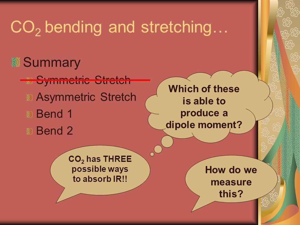 CO 2 bending and stretching… Summary Symmetric Stretch Asymmetric Stretch Bend 1 Bend 2 Which of these is able to produce a dipole moment? CO 2 has TH