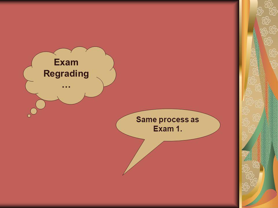 Exam Regrading … Same process as Exam 1.