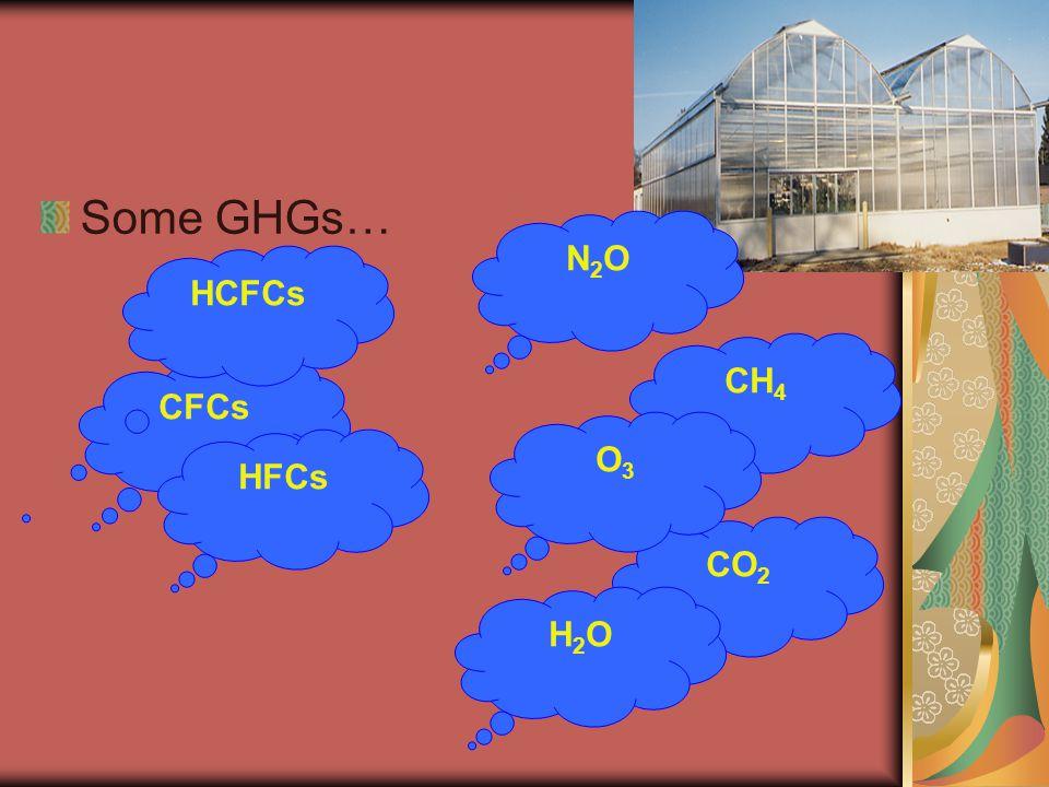 Some GHGs… CFCs HCFCs HFCs CO 2 CH 4 N2ON2O O3O3 H2OH2O