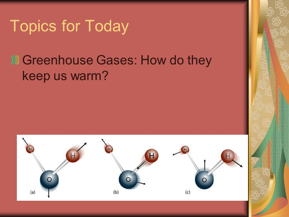 Gamma rays X-rays May ionize the molecule UV lightMay break bonds in the molecule Visible lightUsually doesn't do much w/out help InfraredVibrates Molecule What happens to a molecule when it absorbs IR?