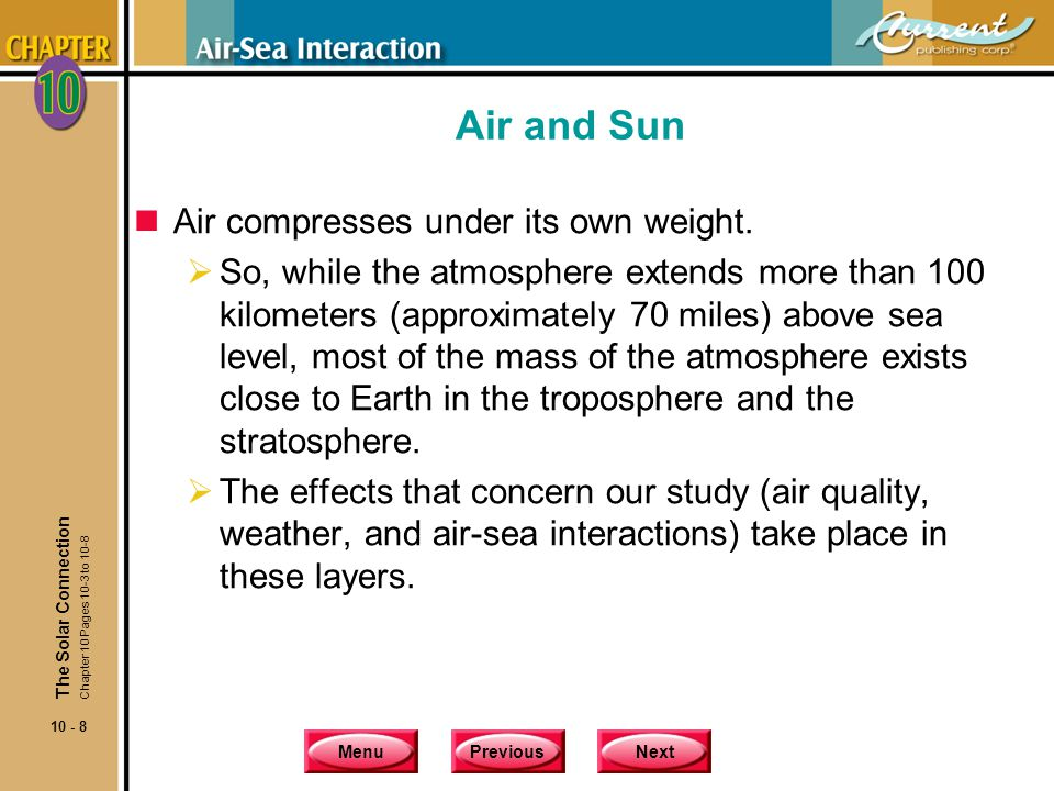 MenuPreviousNext 10 - 9 The Solar Connection Air and Sun nBesides its gaseous components, the atmosphere has two other components that account for about 4% of its total volume.