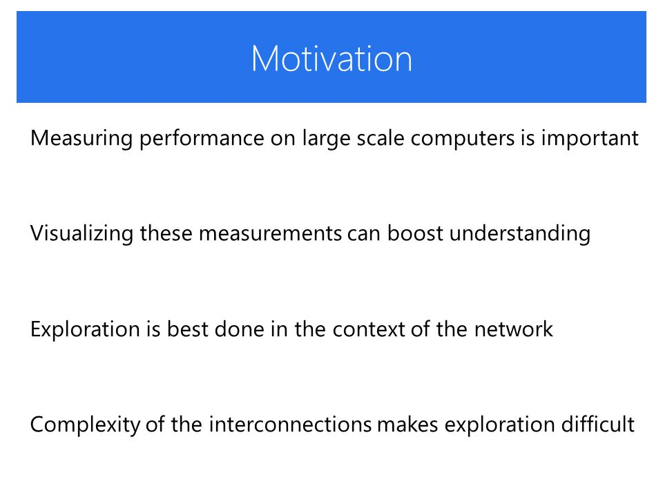 Motivation Measuring performance on large scale computers is important Visualizing these measurements can boost understanding Exploration is best done in the context of the network Complexity of the interconnections makes exploration difficult