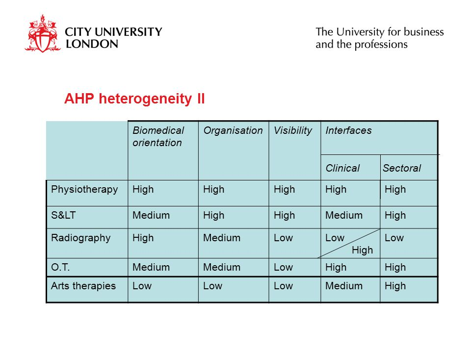 AHP heterogeneity II Biomedical orientation OrganisationVisibilityInterfaces Clinical Sectoral PhysiotherapyHigh S&LTMediumHigh MediumHigh RadiographyHighMediumLow High Low O.T.Medium LowHigh Arts therapiesLow MediumHigh