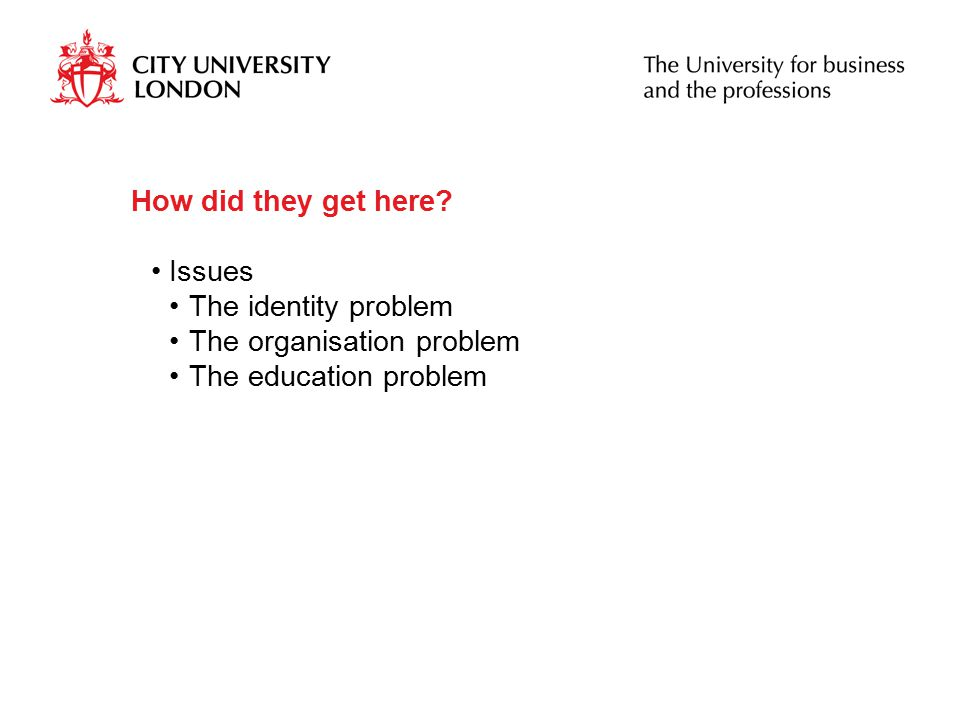 How did they get here Issues The identity problem The organisation problem The education problem