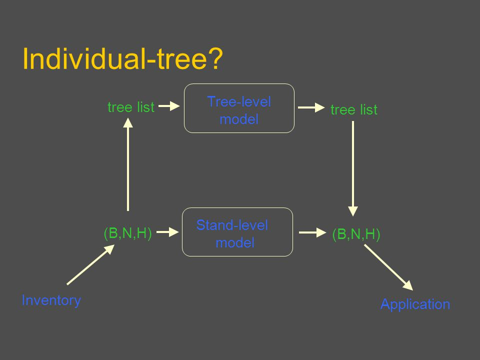 Individual-tree Inventory Application Tree-level model (B,N,H) tree list (B,N,H) Stand-level model
