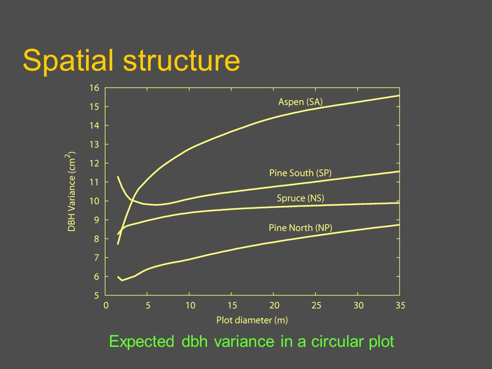 Spatial structure Expected dbh variance in a circular plot
