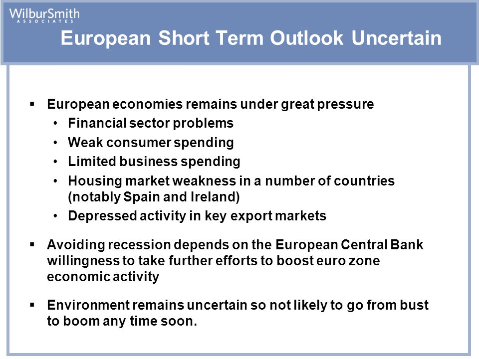 European Short Term Outlook Uncertain  European economies remains under great pressure Financial sector problems Weak consumer spending Limited business spending Housing market weakness in a number of countries (notably Spain and Ireland) Depressed activity in key export markets  Avoiding recession depends on the European Central Bank willingness to take further efforts to boost euro zone economic activity  Environment remains uncertain so not likely to go from bust to boom any time soon.