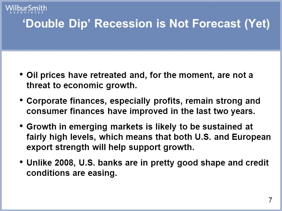 'Double Dip' Recession is Not Forecast (Yet) Oil prices have retreated and, for the moment, are not a threat to economic growth.