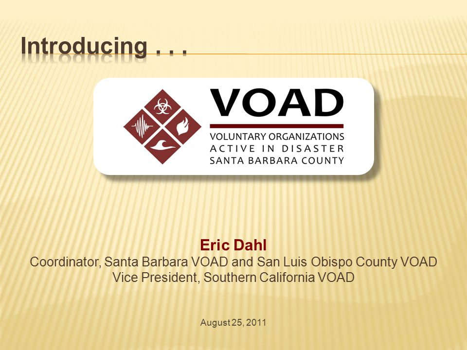  Individual and Family Preparedness For VOAD organizations' staff and volunteers
