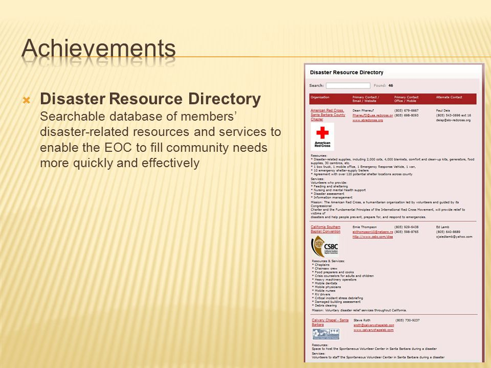  Disaster Resource Directory Searchable database of members' disaster-related resources and services to enable the EOC to fill community needs more quickly and effectively
