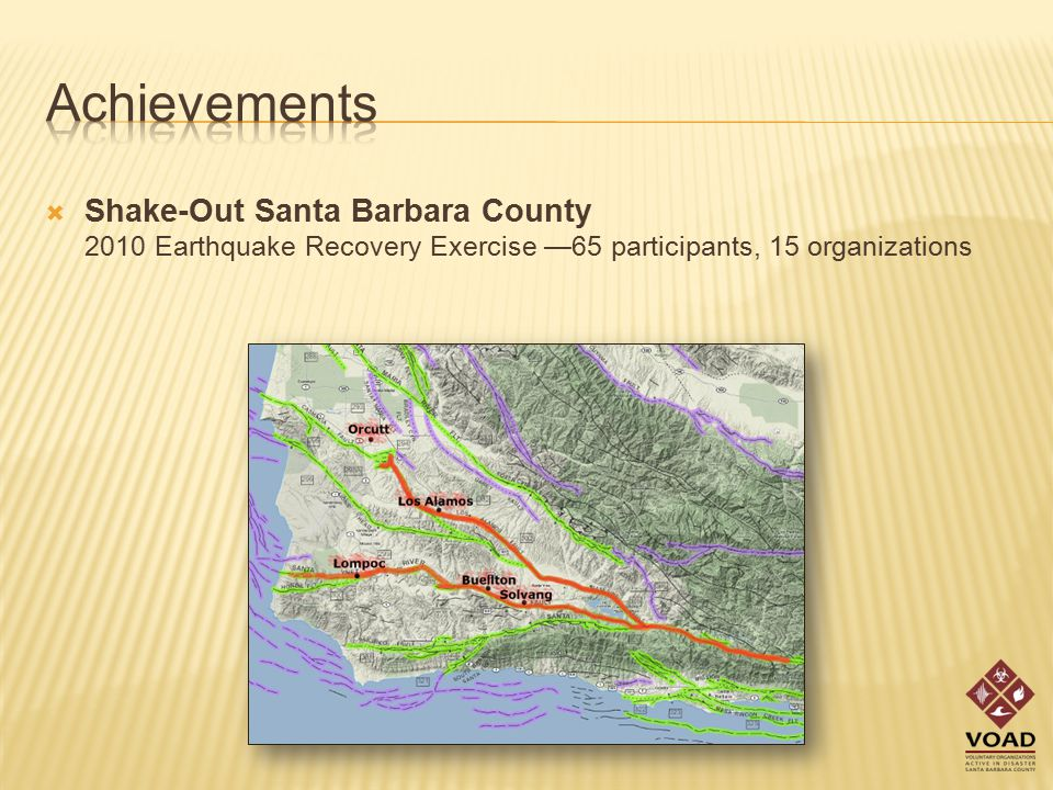 Shake-Out Santa Barbara County 2010 Earthquake Recovery Exercise —65 participants, 15 organizations
