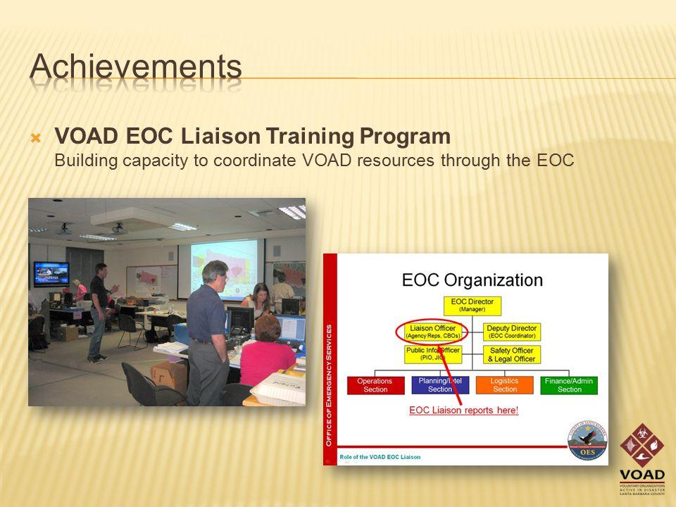  VOAD EOC Liaison Training Program Building capacity to coordinate VOAD resources through the EOC