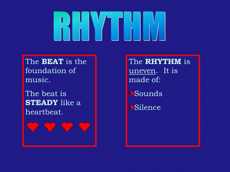 The BEAT is the foundation of music. The beat is STEADY like a heartbeat.