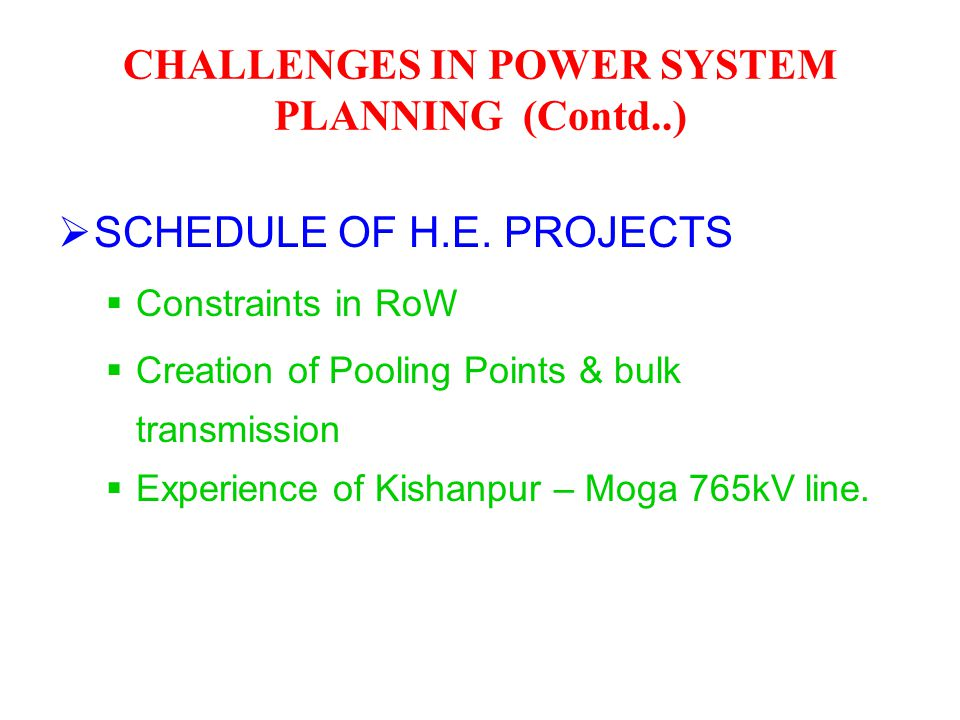  SCHEDULE OF H.E. PROJECTS  Constraints in RoW  Creation of Pooling Points & bulk transmission  Experience of Kishanpur – Moga 765kV line. CHALLEN