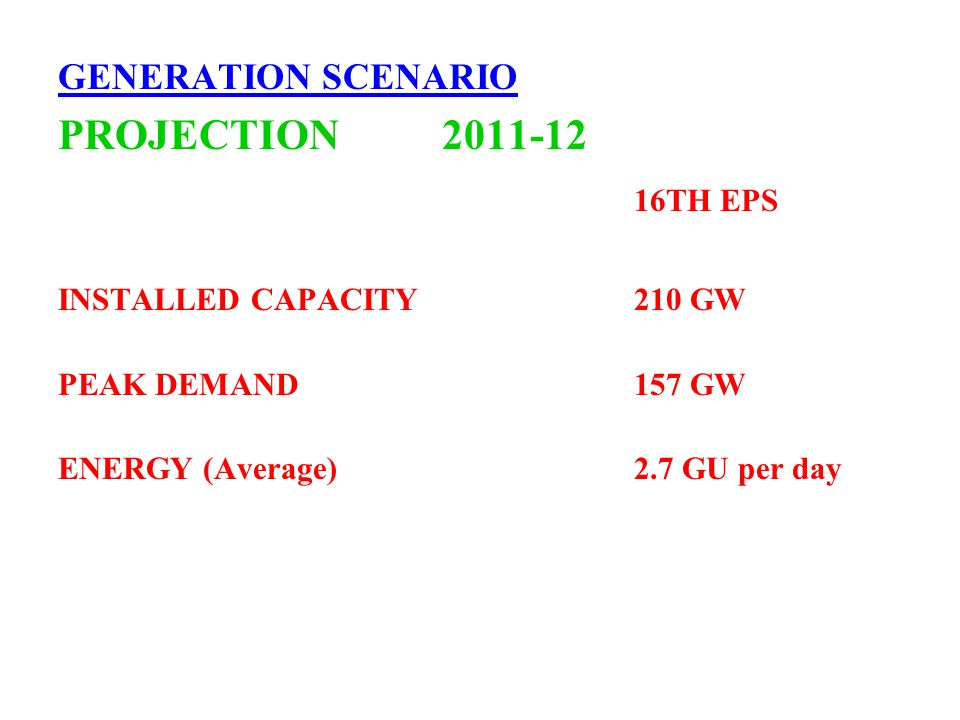 GENERATION SCENARIO PROJECTION 2011-12 16TH EPS INSTALLED CAPACITY210 GW PEAK DEMAND157 GW ENERGY (Average)2.7 GU per day