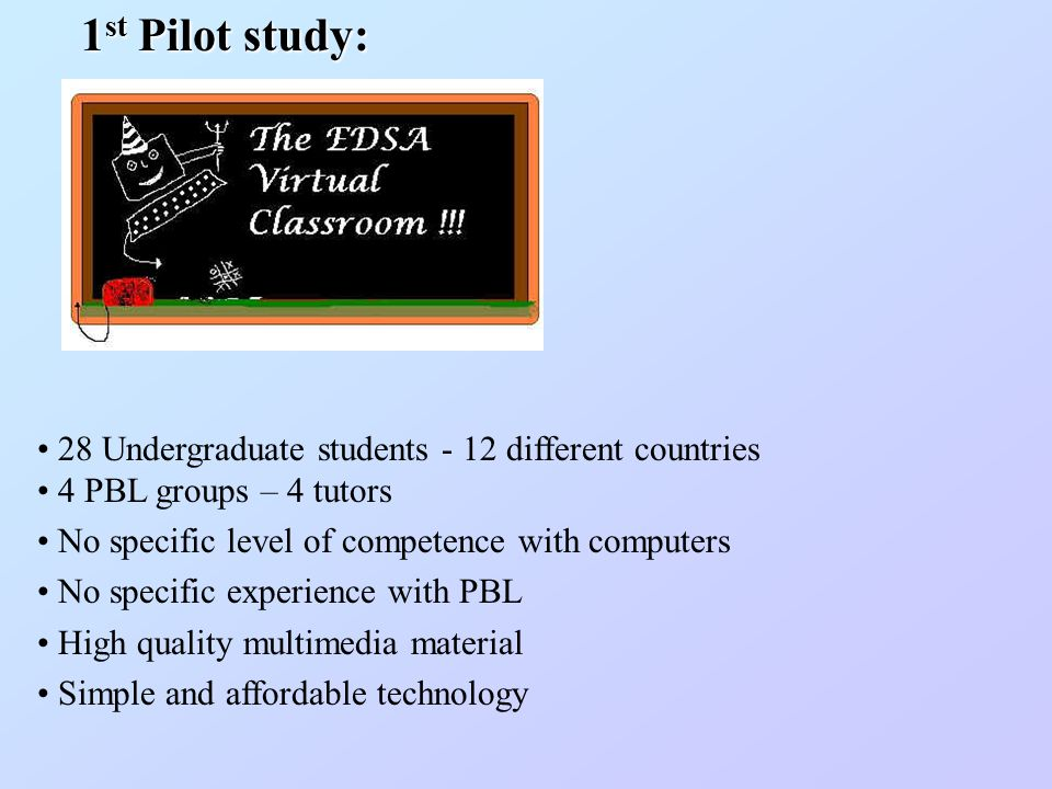 28 Undergraduate students - 12 different countries 4 PBL groups – 4 tutors No specific level of competence with computers No specific experience with PBL High quality multimedia material Simple and affordable technology 1 st Pilot study: