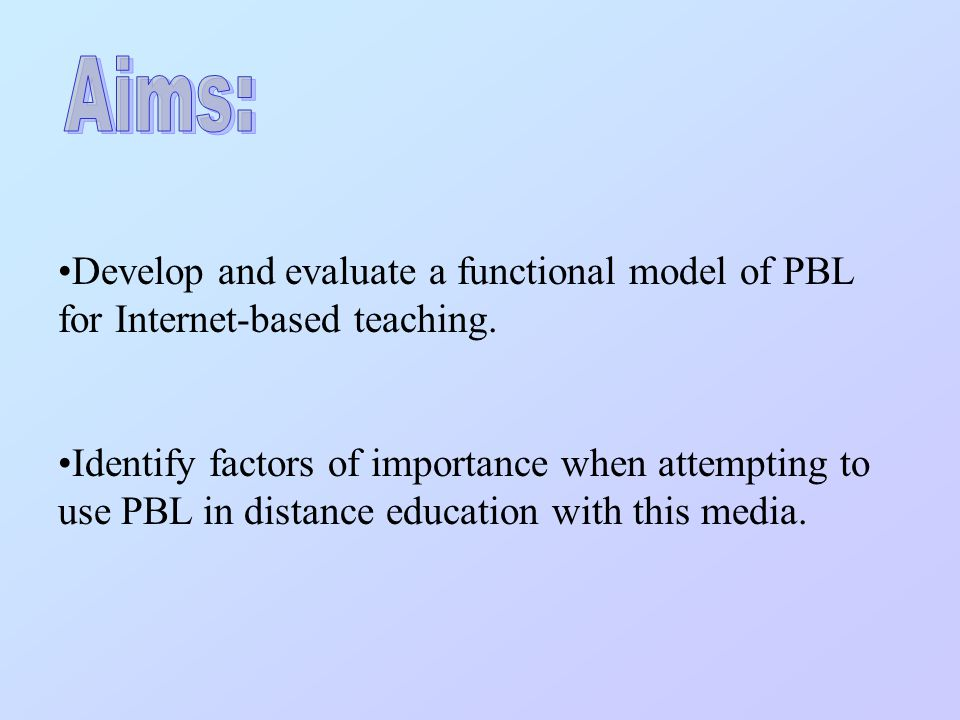 Develop and evaluate a functional model of PBL for Internet-based teaching.