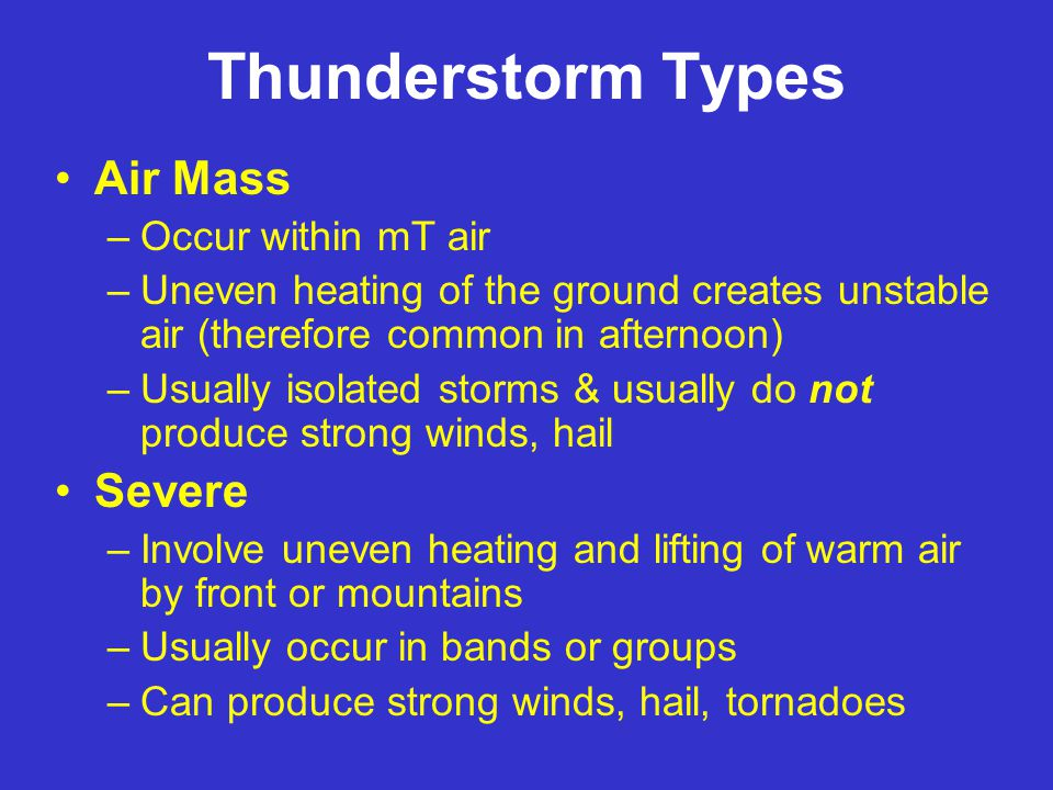 Average Number of Days per Year with Thunderstorms Lots of air mass T-storms