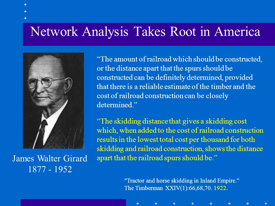 Network Analysis Takes Root in America Note spur spacing and setting design.