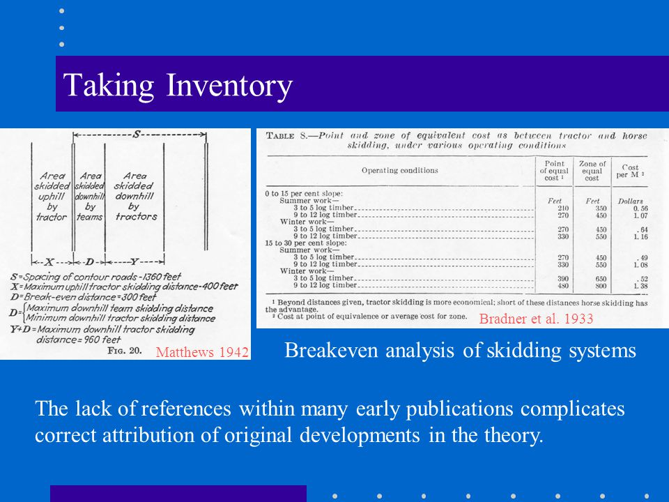 Taking Inventory MAJOR TOPICS The economic location of roads and landings.